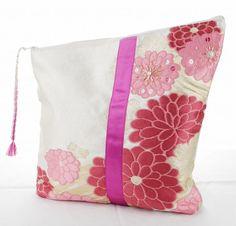 2way Clutch bag White Japanese Kimono and Obi by AkariKimonoShop
