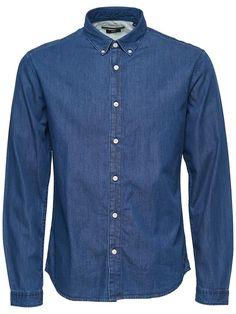 Blå Denim Skjorte Slim Fit - Køb her med GRATIS fragt!