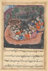 Tuti-nama (Tales of a Parrot) - XLlll : the young man of Baghdad reveals his true identity to the Hashim. Cleveland Museum of Art.