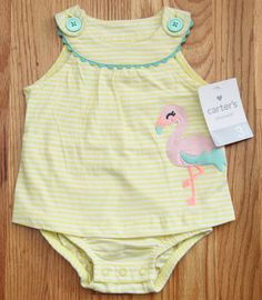 Carter's Baby Girl Sunsuit/Romper ~ Yellow & White ~ 3 Months ~ Flamingo ~ #Carters #Everyday #Auction