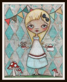 Print of my original mixed media painting Alice and by DUDADAZE