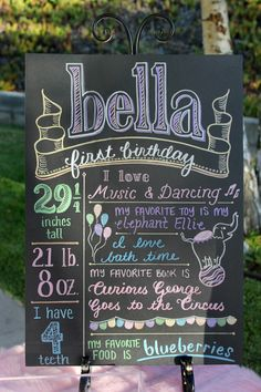 How cute is this chalkboard sign for a child's birthday party!
