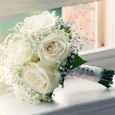 Bridal Flowers Bouquet Blue White Roses Ideas For 2019 Rose Bridal Bouquet, Bride Bouquets, Bridal Flowers, White Rose Bouquet, White Roses Wedding, Bridesmaid Flowers, Wedding Flower Bouquets, Gypsophila Bouquet, Bridesmaid Dresses