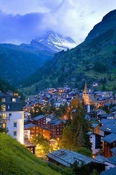 Dusk, Zermatt, Switzerland~ Zermatt is in the German-speaking section of the canton of Valais in Switzerland. Zermatt is famed as a mountaineering and ski resort of the Swiss Alps.THIS IS THE BEST PLACE TO BE I LOVED IT Places Around The World, Oh The Places You'll Go, Places To Travel, Travel Destinations, Places To Visit, Around The Worlds, Travel Europe, European Travel, Zermatt