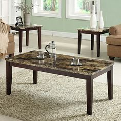 Includes coffee table and two end tables     Deep espresso finish     Easy-care faux marble table tops     Constructed of wood and wood veneers     Assembly required  Coffee Table: 48L x 24W x 19H End Tables (each): 23L x 21W x 21H