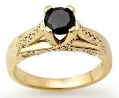 black diamond gold engagement rings - Google Search