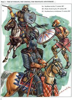 """""""Scythian warrior, V century BC - Pontic Greek hoplite, IV century BC - Scythian heavy cavalryman, V century BC"""", Mikhael V Gorelik"""
