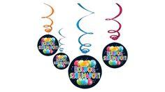 Boldog szülinapot függő dekoráció fekete lufis 6 db, Nicol Party Kellék Bolt Enamel, Vitreous Enamel, Enamels