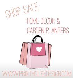 Garden planters plus more on sale! www.printhousedesign.com Garden Planters, Social Media, Shopping, Flower Planters, Garden Container, Social Networks, Social Media Tips
