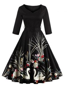 e73a0b8aa64 Vintage Printed Fit and Flare Waisted Dress - Black Xl