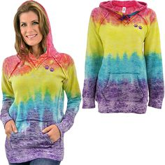Our prismatic sweatshirt is a far out way to stand up for rescued animals. The ultra soft yet heavyweight layer has that well-loved, lived in feel thanks to the burn-out fabric and raw edges, with ribbed side panels for a snuggly fit. Two purple paw