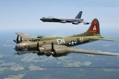 B-17 Flanked By B-52 Bomber - knocking sense into socialists and commies since WWII!