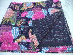 Sari Kantha Reversible Handmade Indian Quilt by jaisalmerhandloom, $69.00