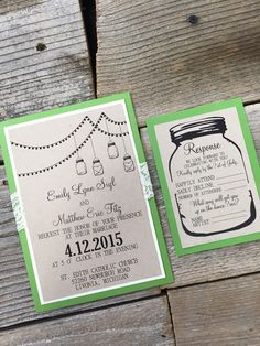 Whimsical Mason Jar and Lace Invitation- Starry Night. Mason Jar, Perfect for a Summer or Fall Wedding, Lace