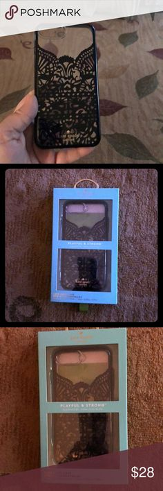 KATE SPADE IPHONE 8+ CELL PHONE CASE LIKE BLK LACE NEW IN BOX KATE SPADE IPHONE 8+ CELL PHONE CASE LOOKS LIKE BLACK LACE DROP TESTED 6' PLAYFUL AND STRONG RETAIL $49.99 PRICE FIRM kate spade Accessories Phone Cases