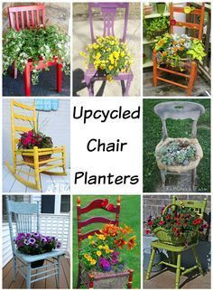 Upcycled Chair Planters - turn thrift store chairs into pretty planters that also double as garden art! 8 fabulous examples from talented DIYers! #OldChair