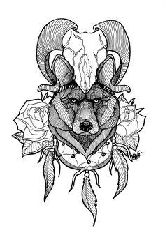 Tattoo Wolf by MaryMaryLP