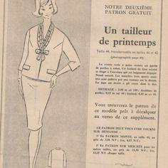 """Patron vintage, veste, jupe et foulard, supplément à la revue """"l'écho de la mode"""" 19 février 1960."""