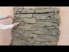 Fake Rock Wall, Fake Stone Wall, Faux Stone, Concrete Furniture, Concrete Art, Concrete Projects, Stone Wall Design, Rock Design, Environmental Sculpture