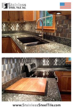 Stainless Steel Tile Backsplash | Modern Metal Tiles | Woven Subway Tiles 3D Effect (Wave) | Contemporary Kitchen Design | Shop Stainless Steel Tile Inc.