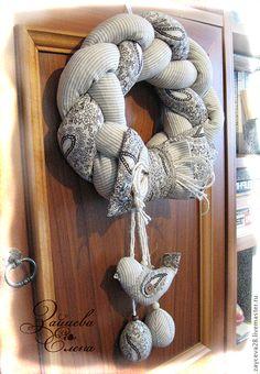 """Купить интерьерное украшение """"Пасхальный венок"""" - бежевый, текстиль для дома, текстильное украшение, пасхальный сувенир"""
