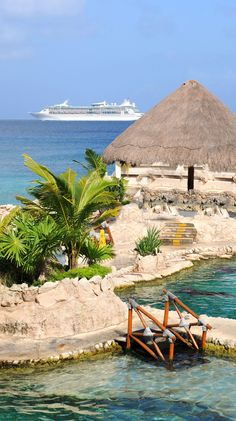 Dolphinarium in Cozumel, Mexico with Royal Caribbean cruise ship in background