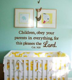 Vinyl Wall Decal Children obey your parents in by SoundSayings, $15.95