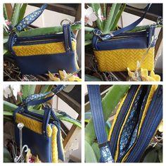 Sac ChaChaCha simili bleu et simili bambou jaune cousu par Valery - Patron pochette 3 zips Sacôtin