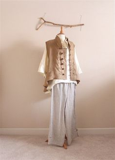 plus size, petite, linen outfit blouse vest pants handmade to measure by annyschooecoclothing,
