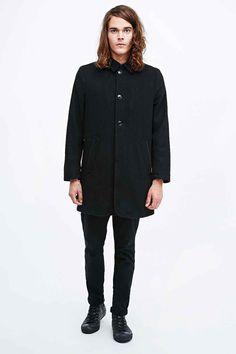 Indigo & Maine Wool Mac in Black - Urban Outfitters
