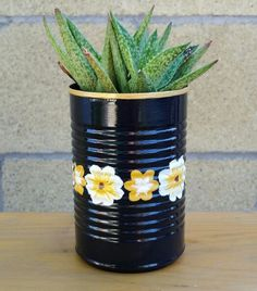 Upcycled tin can. Hand painted cactus mini pot.
