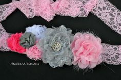 Items similar to Beautiful Pink & Gray Chiffon Flower Maternity Sash Belt - Pregnancy Photo Prop - Pink Grey White - It's A Girl - Newborn on Etsy Maternity Photo Props, Maternity Belt, Pink Grey, Grey And White, Gray, Sash Belts, Chiffon Flowers, Having A Baby, Pregnancy Photos