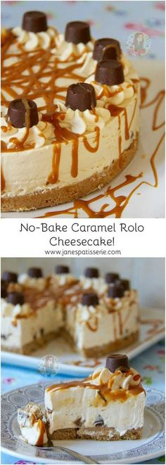 No-Bake Caramel Rolo Cheesecake! ❤️ Caramel creamy cheesecake filling on top… No-Bake Caramel Rolo Cheesecake! ❤️ Caramel creamy cheesecake filling on top of a delicious buttery biscuit base drizzled with an extra bit of caramel and packed full of Rolos! Rolo Cheesecake, Cheesecake Base Recipe, Chocolate Caramel Cheesecake, Easy No Bake Cheesecake, Raspberry Cheesecake, Pumpkin Cheesecake, No Bake Desserts, Just Desserts, Delicious Desserts