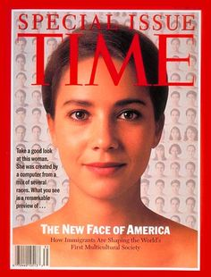 1993 The New Face of America - computer morphing by Kim Wah Lam. Morphed face is 15% Anglo-Saxon, 17.5% Middle Eastern, 17.5% African, 7.5% Asian, 35% Southern European, and 7.5% Hispanic -- beautiful woman!
