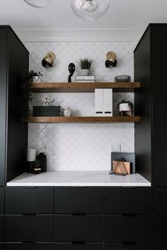 A stunning modern home office renovation reveal! This stunning space features black IKEA kungsbacka kitchen cabinets, tiled floors, a beautiful watercolour wallpaper mural, and gorgeous gold and brass light fixtures. The white desk stands out against Ikea Lack Shelves, Lack Shelf, Floating Shelves Diy, Black Kitchen Cabinets, Black Kitchens, Home Kitchens, Black Ikea Kitchen, Wooden Shelves Kitchen, Ikea Kitchens