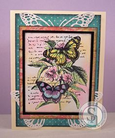 Designed by Jodi Clak for Spectrum Noir. Colored with Spectrum Noir Blendable Pencils. Butterflies – 045, 013, 063, 037 Flowers – 034, 031 Leaves – 048, 045 Background – 065, 030, 017 Butterfly diecuts – Sara Davies Signature Collection Butterfly Lullaby Butterfly Dance die. Rubber Stamp by Recollections