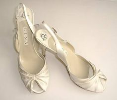 Gina designer bridal cream satin peeptoe shoes size 7-7.5 Lynda