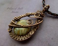 Picasso Jasper Gemstone pendant, copper wire wrapped pendant, Wire Wrapped jewelry handmade by PillarOfSaltStudio
