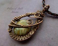 Wire Wrapped Pendant, wire wrapped jewelry handmade, Picasso Jasper Gemstone pendant, copper jewelry, wire jewelry, earthy jewelry