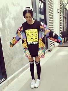 パーカー・スウェットシャツ - 原宿系笑顔刺繍ゆったりとした可愛いトレーナー