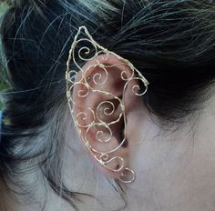 Golden fantasy elf ear cuff elven fairy pixie by AlcazarDesigns Wire Wrapped Jewelry, Wire Jewelry, Jewelry Crafts, Jewelery, Pixie Ears, Elfen Fantasy, Elf Ear Cuff, Handcrafted Jewelry, Unique Jewelry