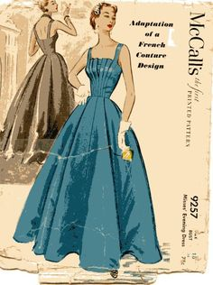 McCalls 9257: wow, that bodice! Vintage McCalls 9257 designer gown dress pattern size 16 Bust 34