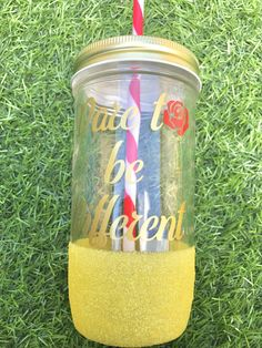 Dare to be different~ Beauty and the Beast~ Belle~ Mason Jar~ Glitter~ Drinkware~ Disney Princess~ Rose