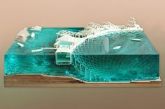 Amazing Architectural Model Coral Frontiers is a proposal for a new infrastructure for coral regeneration on the Island of Diego. The project stretches beyond the scale of the island. It is also a geo_political. Maquette Architecture, Landscape Architecture Model, Water Architecture, Architecture Model Making, Landscape Model, Concept Architecture, Landscape Design, Architecture Design, Berkeley Architecture