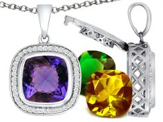Switch-It Gems Interchangeable Simulated Alexandrite Pendant Necklace Set with 12 Cushion Cut 12mm Simulated Birth Mont
