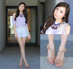 shoulder blouse pastel shorts gold peach