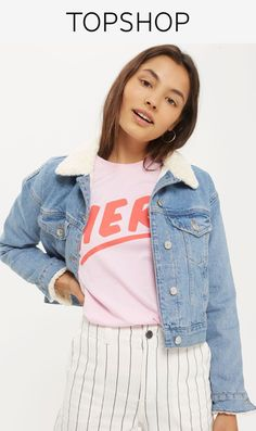 This light denim jacket has been reworked with a borg style collar and cuffs. This cropped style comes in an authentic mid-stone wash with two chest pockets and button cuffs. We're teaming ours with a slogan t-shirt and denim skirt.
