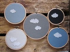 stitched clouds -- cute idea, maybe not x-stitch for me. Spider web roses, crewel, satin stitch...