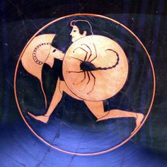 'Running hoplite'. Potter: Pamphaios,  Nikosthenes, Painter. 495 BCE, Walters Art Museum, Baltimore, Maryland.