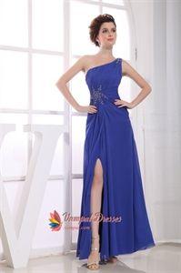 Royal Blue One Shoulder Evening Dress, Chiffon One Shoulder Prom Dress. Vampal